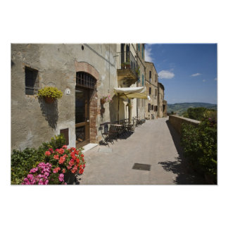 Italy, Tuscany, Pienza. Outer walkway around Poster