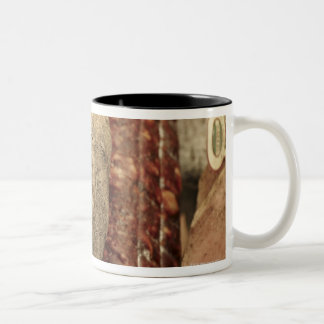 Italy,Tuscany,Pienza,Selection of local ham and Two-Tone Coffee Mug