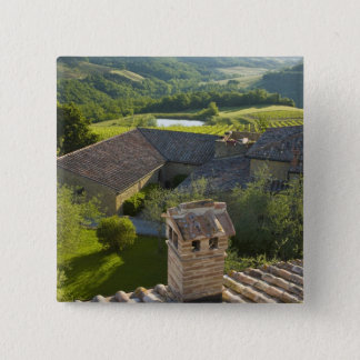 Italy, Tuscany. Roofop view of the villa 15 Cm Square Badge