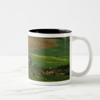 Italy, Tuscany. Scenic of the Val d'Orcia Two-Tone Coffee Mug