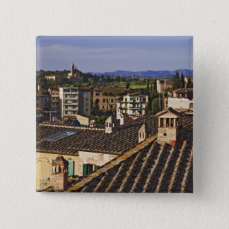 Italy, Tuscany, Siena. Rooftop view of city 15 Cm Square Badge
