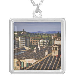 Italy, Tuscany, Siena. Rooftop view of city Silver Plated Necklace