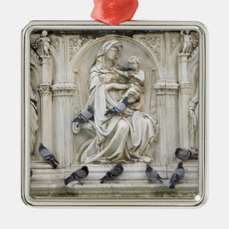 Italy, Tuscany, Sienna. Statues and birds on Silver-Colored Square Decoration