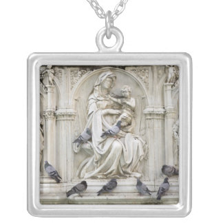 Italy, Tuscany, Sienna. Statues and birds on Silver Plated Necklace