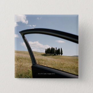 Italy,Tuscany,Val d'Orcia,Cypress trees in the 15 Cm Square Badge