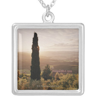 Italy,Tuscany,Val d'Orcia,Montalcino Silver Plated Necklace