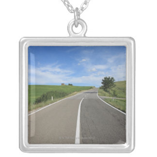 Italy, Tuscany, Val d'Orcia, Road Silver Plated Necklace
