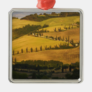 Italy, Tuscany, ZigZag Road in Tuscany. Christmas Ornament