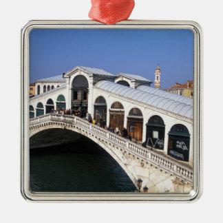 Italy, Veneto, Venice, Rialto Bridge crossing Silver-Colored Square Decoration