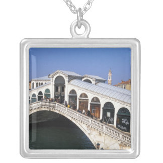 Italy, Veneto, Venice, Rialto Bridge crossing Silver Plated Necklace