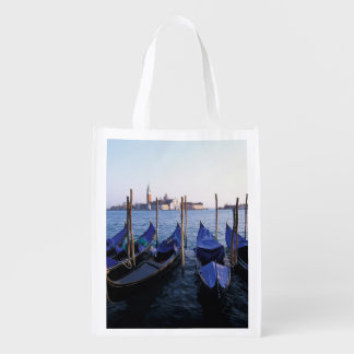Italy, Veneto, Venice, Row of Gondolas and San