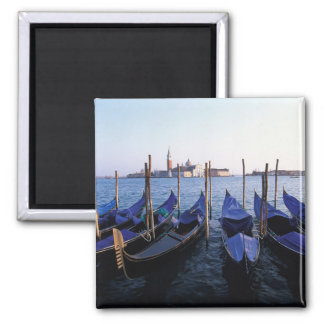 Italy, Veneto, Venice, Row of Gondolas and San Magnet