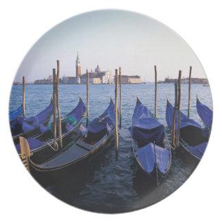 Italy, Veneto, Venice, Row of Gondolas and San Plate