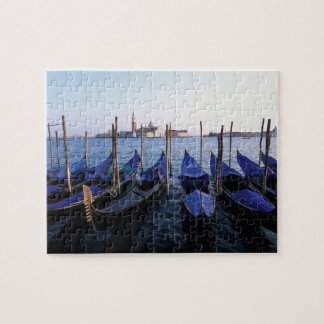Italy, Veneto, Venice, Row of Gondolas and San Puzzles