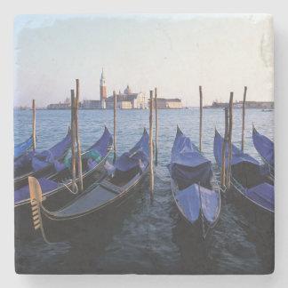 Italy, Veneto, Venice, Row of Gondolas and San Stone Coaster