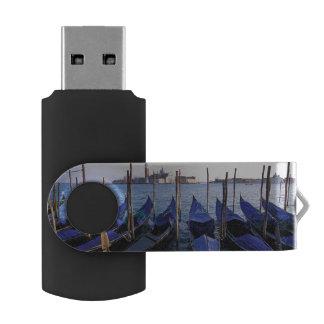 Italy, Veneto, Venice, Row of Gondolas and San Swivel USB 2.0 Flash Drive