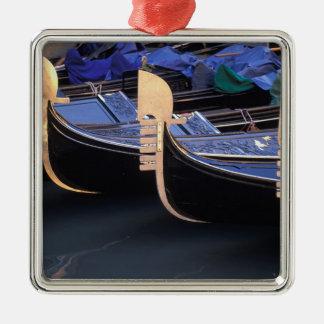 Italy, Veneto, Venice. Row of Gondolas. Silver-Colored Square Decoration