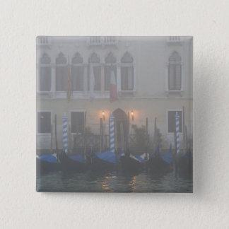 Italy, Venice. A row of gondolas seen through 15 Cm Square Badge