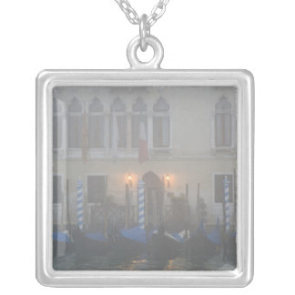Italy, Venice. A row of gondolas seen through Silver Plated Necklace
