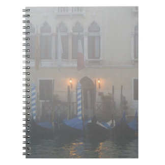 Italy, Venice. A row of gondolas seen through Spiral Notebook