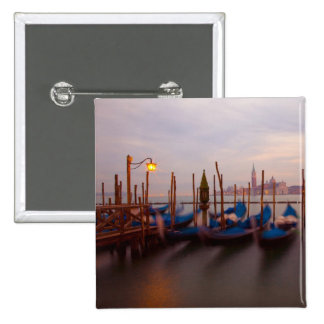 Italy, Venice. Anchored gondolas at twilight. 15 Cm Square Badge