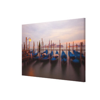 Italy, Venice. Anchored gondolas at twilight. Canvas Print