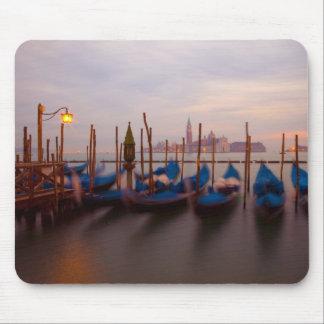 Italy, Venice. Anchored gondolas at twilight. Mouse Mat