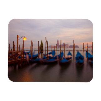 Italy, Venice. Anchored gondolas at twilight. Rectangular Photo Magnet
