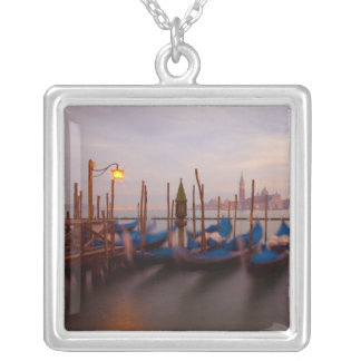 Italy, Venice. Anchored gondolas at twilight. Silver Plated Necklace