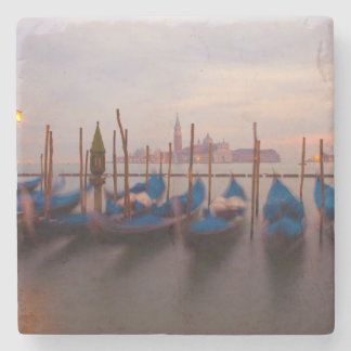 Italy, Venice. Anchored gondolas at twilight. Stone Coaster