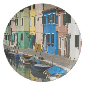 Italy, Venice, Burano. Multicolored houses along 2 Plate