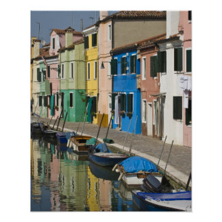 Italy, Venice, Burano. Multicolored houses along 2 Poster