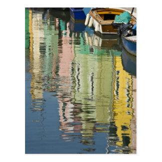 Italy, Venice, Burano. Multicolored houses along Postcard