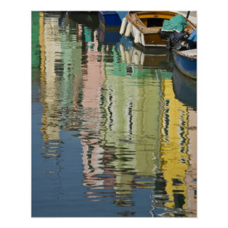 Italy, Venice, Burano. Multicolored houses along Poster