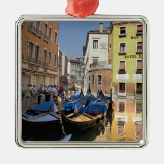 Italy, Venice, gondolas moored along canal Christmas Ornament