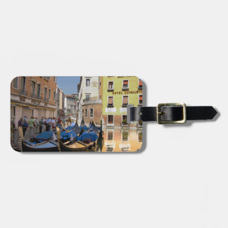 Italy, Venice, gondolas moored along canal Luggage Tag