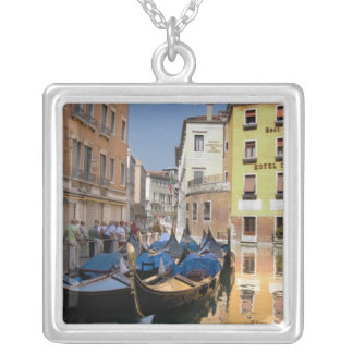 Italy, Venice, gondolas moored along canal Silver Plated Necklace