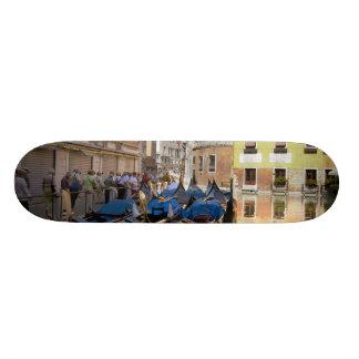 Italy, Venice, gondolas moored along canal Skate Board Deck