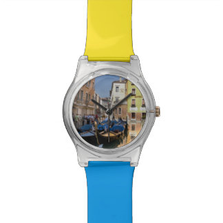 Italy, Venice, gondolas moored along canal Wrist Watches