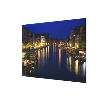 Italy, Venice, Night View Along the Grand 2 Canvas Print