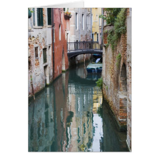 Italy, Venice, Reflections and Small Bridge of Card