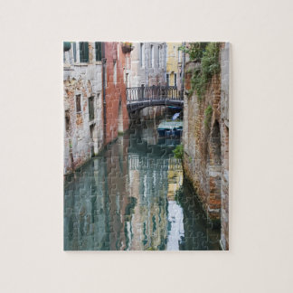 Italy, Venice, Reflections and Small Bridge of Jigsaw Puzzle