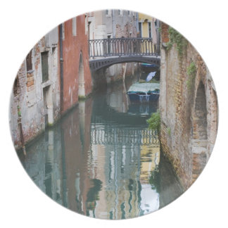 Italy, Venice, Reflections and Small Bridge of Plate