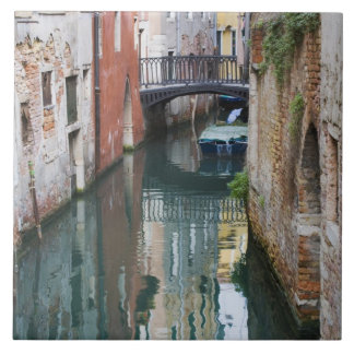 Italy, Venice, Reflections and Small Bridge of Tile