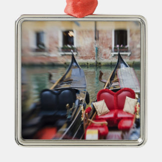 Italy, Venice, Selective Focus of Gondola in the 2 Silver-Colored Square Decoration