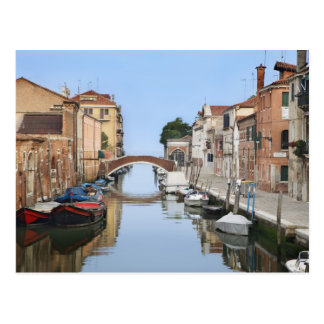 Italy, Venice. View of boats and homes along one Postcard