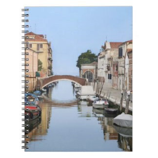 Italy, Venice. View of boats and homes along one Spiral Notebook