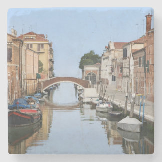 Italy, Venice. View of boats and homes along one Stone Coaster