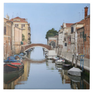 Italy, Venice. View of boats and homes along one Tile