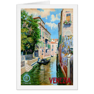 Italy Venice Vintage Travel Poster Restored Card